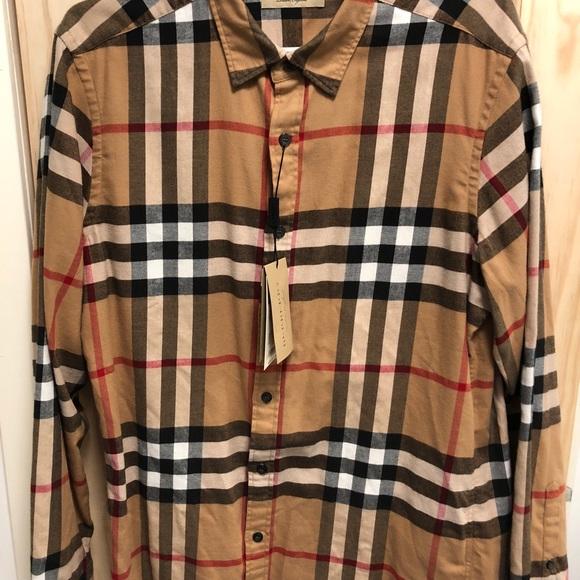 867dd930 Burberry Shirts | Camel Mens Long Sleeve Shirt Large | Poshmark